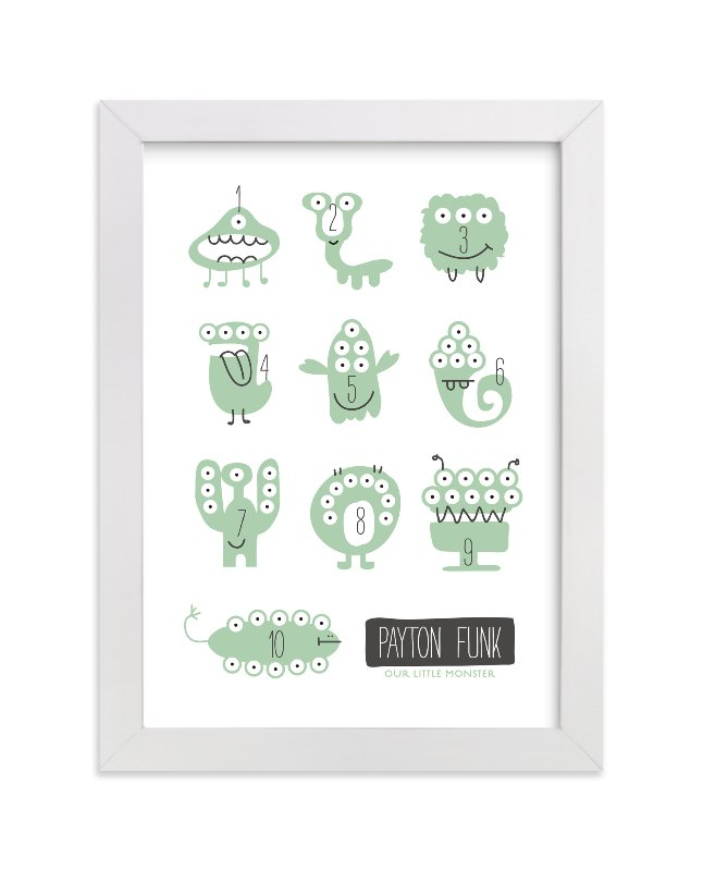 This is a green nursery wall art by Carrie ONeal called Monster Math with standard.
