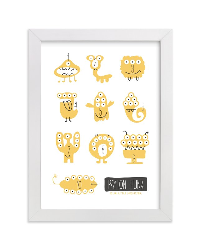 This is a yellow nursery wall art by Carrie ONeal called Monster Math with standard.