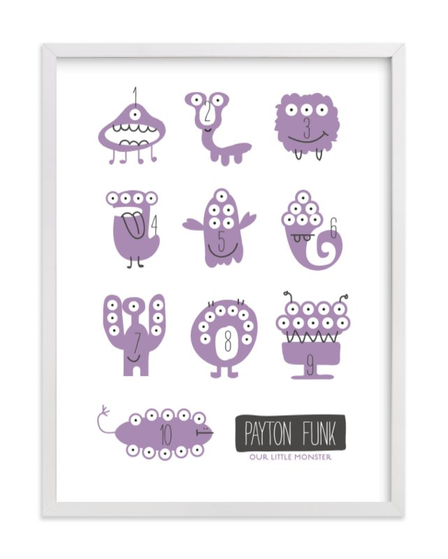 This is a purple nursery wall art by Carrie ONeal called Monster Math with standard.
