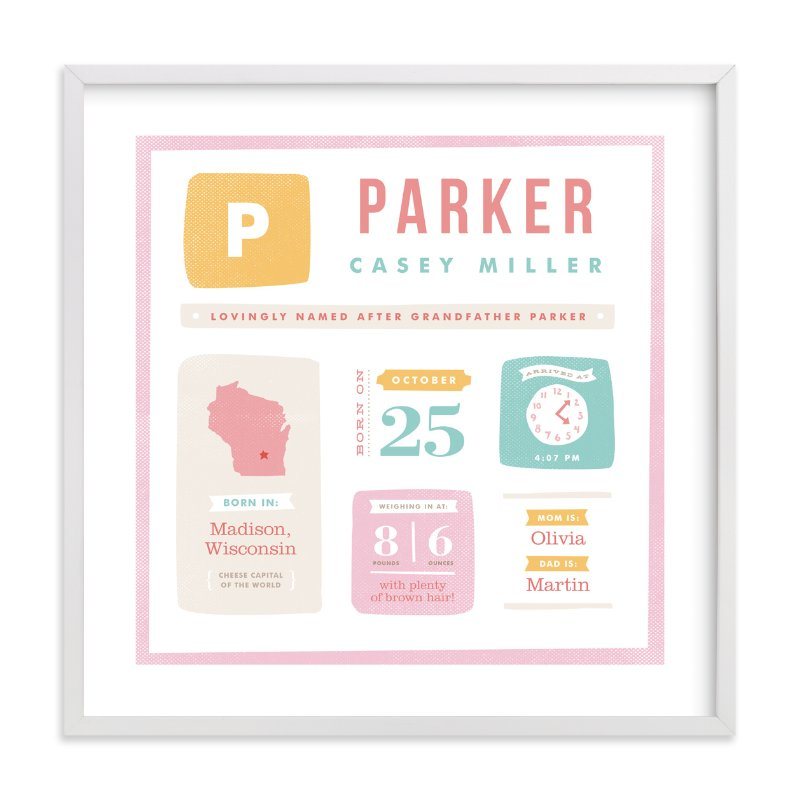 This is a pink nursery wall art by Jennifer Wick called Just the Facts with standard.