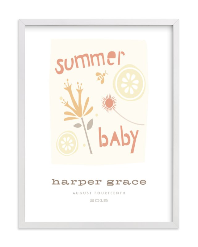 """""""Summer Baby"""" - Nursery Custom Art Print by Carolyn MacLaren in beautiful frame options and a variety of sizes."""