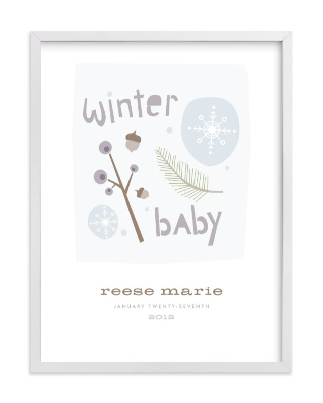 This is a purple nursery wall art by Carolyn MacLaren called Winter Baby with standard.