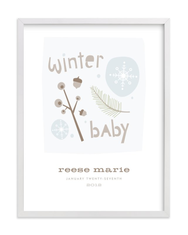 This is a brown nursery wall art by Carolyn MacLaren called Winter Baby with standard.