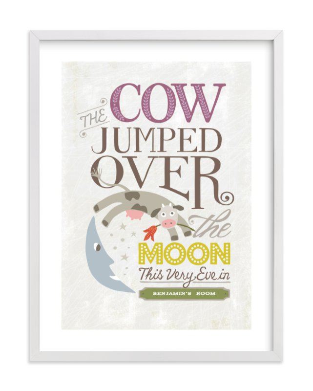 """Over the Moon"" - Nursery Custom Art Print by Griffinbell Paper Co. in beautiful frame options and a variety of sizes."