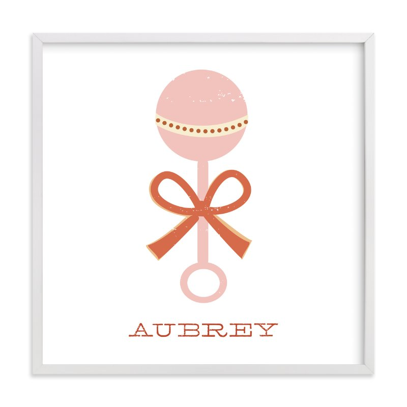 This is a pink nursery wall art by Katie Wahn called Vintage Rattle with standard.