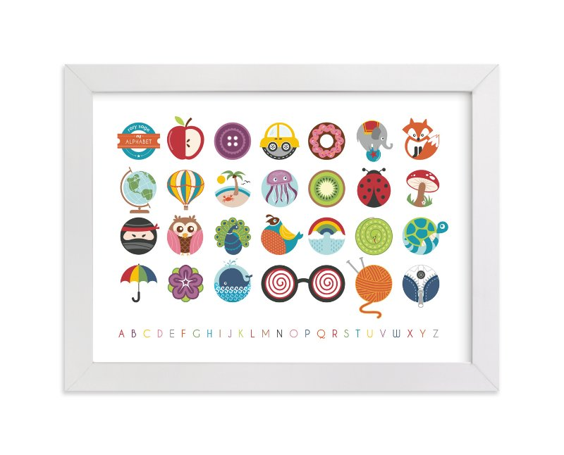 This is a white nursery wall art by Lyndsay Johnson called Alphabet in the Round with standard.
