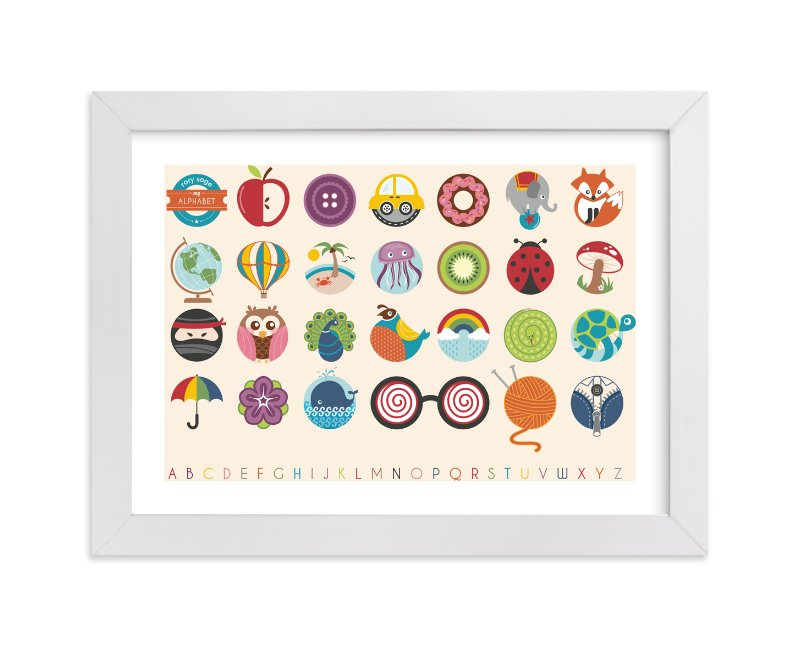 This is a yellow nursery wall art by Lyndsay Johnson called Alphabet in the Round with standard.