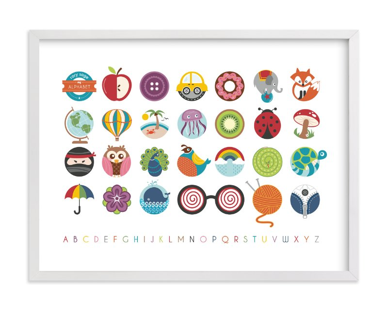 """Alphabet in the Round"" - Nursery Custom Art Print by Lyndsay Johnson in beautiful frame options and a variety of sizes."