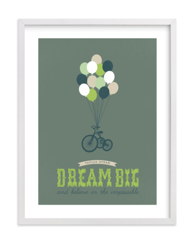 """Dream Big and Believe"" - Nursery Custom Art Print by Serenity Avenue in beautiful frame options and a variety of sizes."