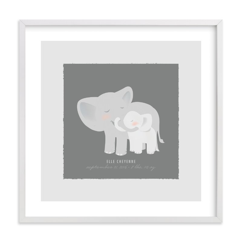 This is a grey nursery wall art by Lori Wemple called A Mother's Love - Elephants with standard.