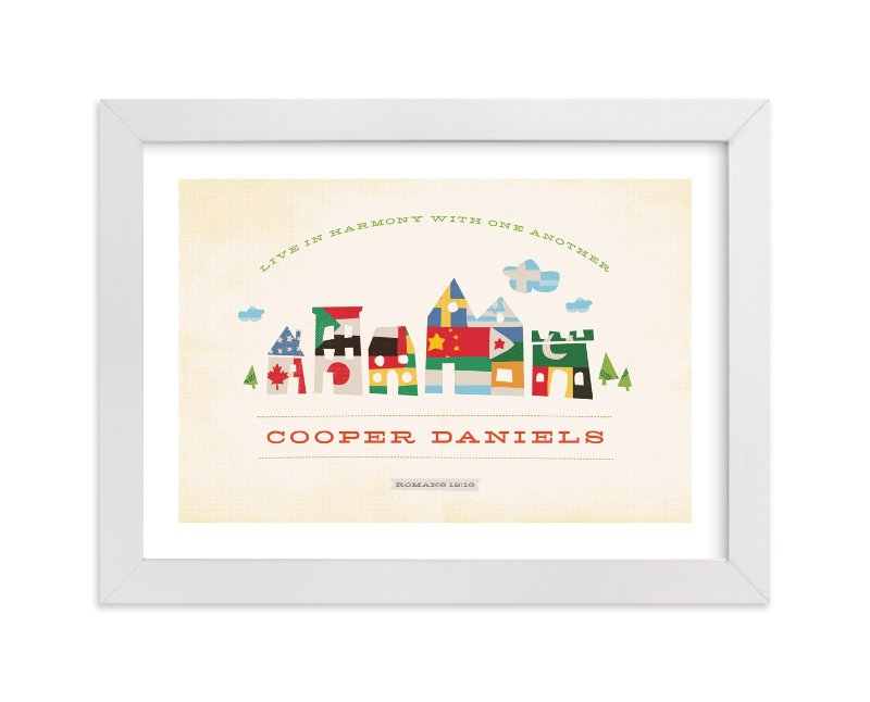 This is a brown nursery wall art by Jennifer Wick called Hey Neighbor with standard.