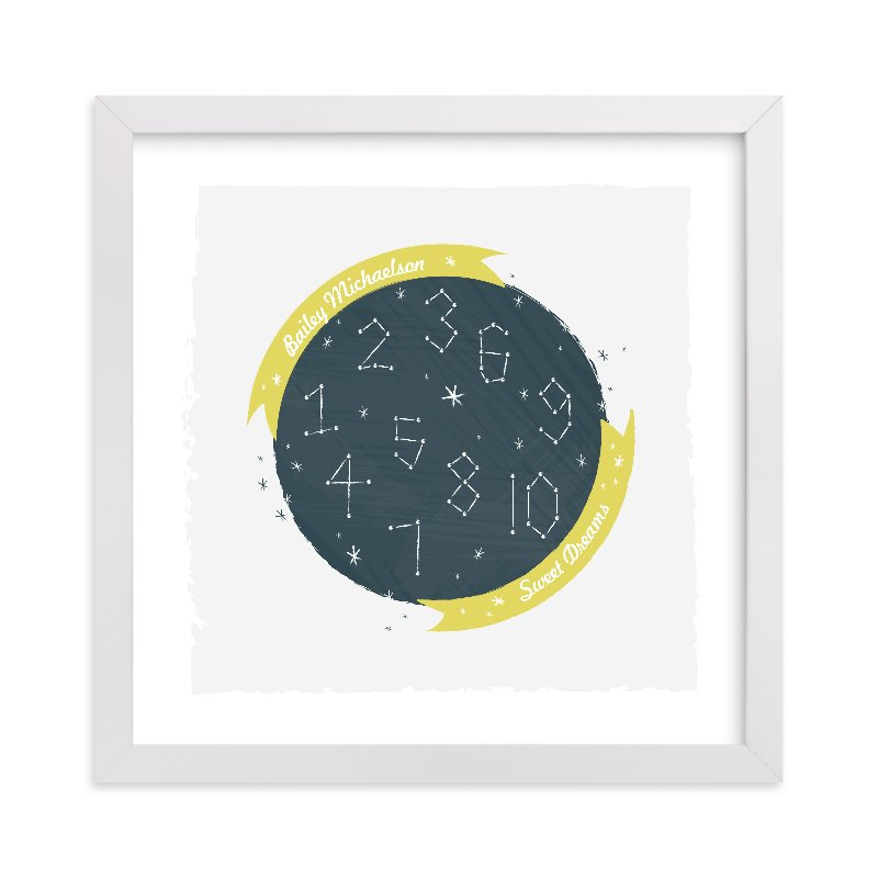 This is a yellow nursery wall art by Kayla King called Constellation Dreams with standard.