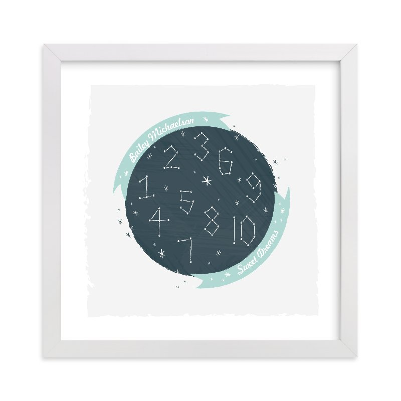 This is a blue nursery wall art by Kayla King called Constellation Dreams with standard.
