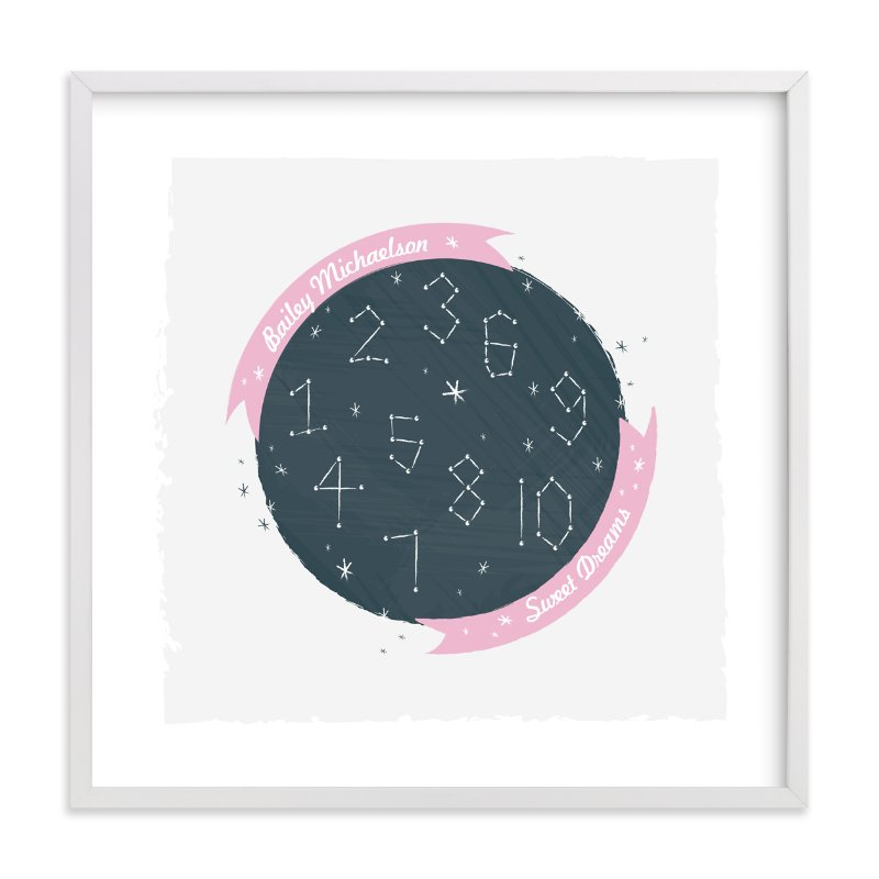 This is a pink nursery wall art by Kayla King called Constellation Dreams with standard.