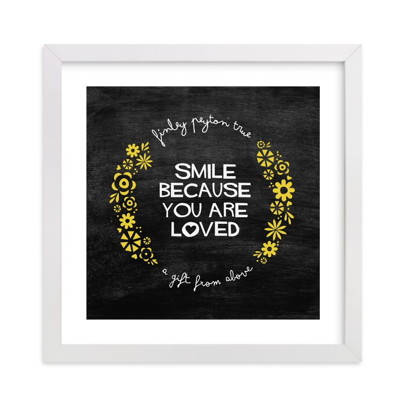 This is a yellow nursery wall art by trbdesign called Smile with standard.