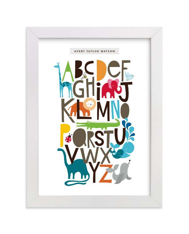 """Animals Alphabet"" - Nursery Custom Art Print by Alethea and Ruth in beautiful frame options and a variety of sizes."