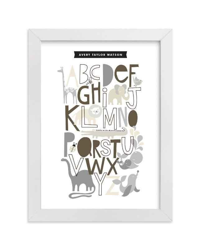 This is a grey nursery wall art by Alethea and Ruth called Animals Alphabet with standard.