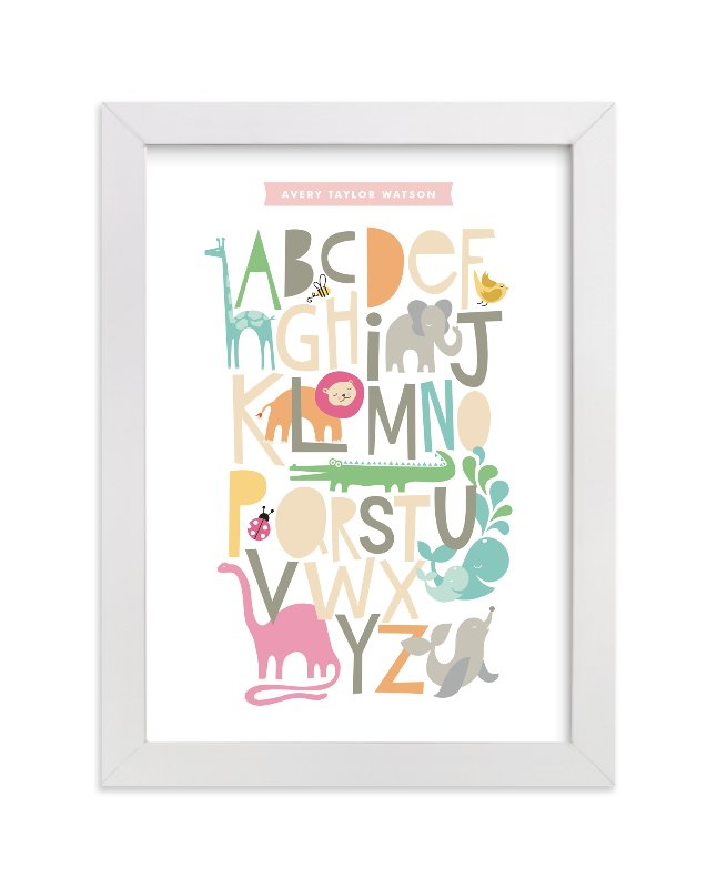 This is a orange nursery wall art by Alethea and Ruth called Animals Alphabet with standard.
