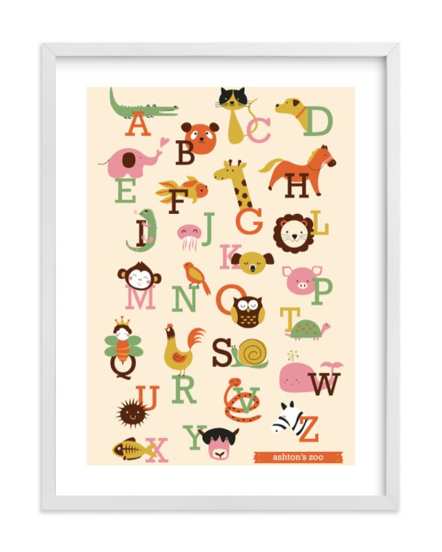 This is a orange nursery wall art by Anais Lee called Animal A to Z with standard.