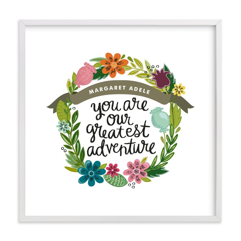 This is a brown nursery wall art by Alethea and Ruth called Greatest Adventure with standard.