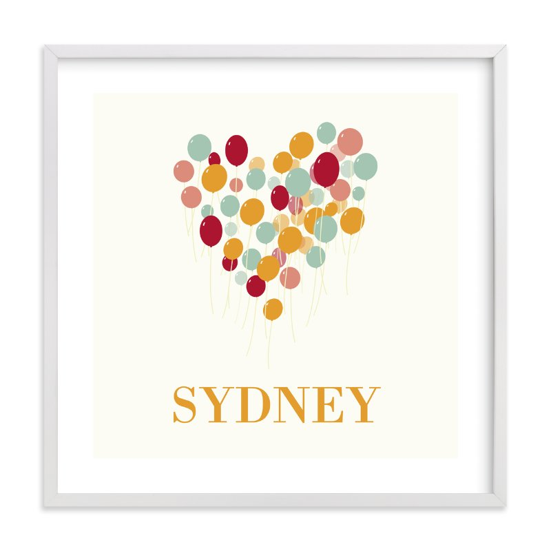 """""""Lovely Balloons"""" - Nursery Custom Art Print by BusyNothings in beautiful frame options and a variety of sizes."""