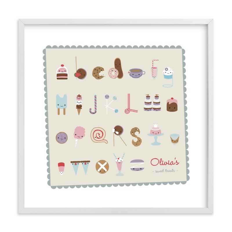 This is a white nursery wall art by Frooted Design called Sweet Treats Alphabet with standard.