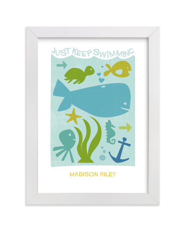 """Just Keep Swimming"" - Nursery Custom Art Print by Robin Ott in beautiful frame options and a variety of sizes."