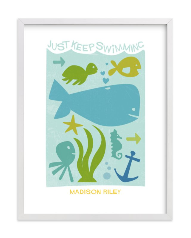 """""""Just Keep Swimming"""" - Nursery Custom Art Print by Robin Ott in beautiful frame options and a variety of sizes."""