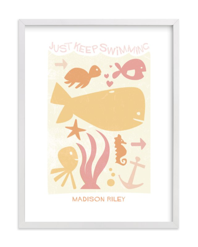 This is a orange nursery wall art by Robin Ott called Just Keep Swimming with standard.
