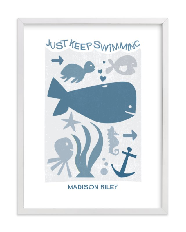 This is a grey nursery wall art by Robin Ott called Just Keep Swimming with standard.