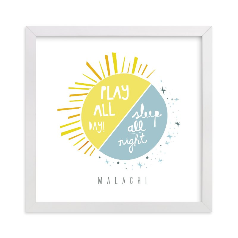 """Play All Day, Sleep All Night"" - Nursery Custom Art Print by Lisa Nelson in beautiful frame options and a variety of sizes."