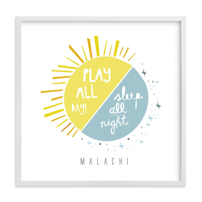 """""""Play All Day, Sleep All Night"""" - Nursery Custom Art Print by Lisa Nelson in beautiful frame options and a variety of sizes."""