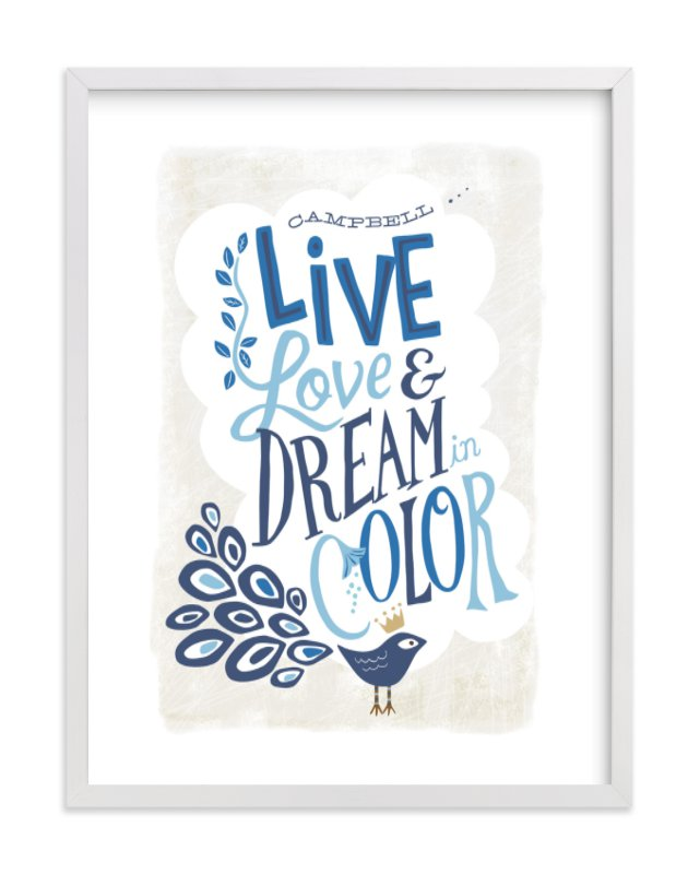 This is a blue nursery wall art by Griffinbell Paper Co. called Three Wishes with standard.