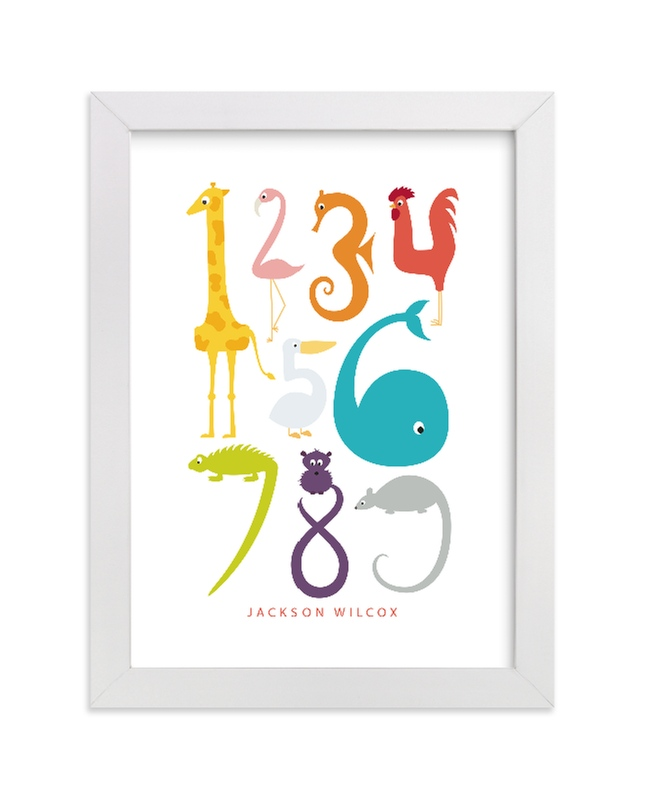 This is a orange nursery wall art by Danie Romrell called Numbered Animals with standard.