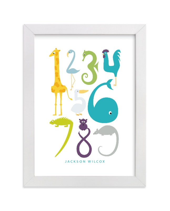 This is a blue nursery wall art by Danie Romrell called Numbered Animals with standard.