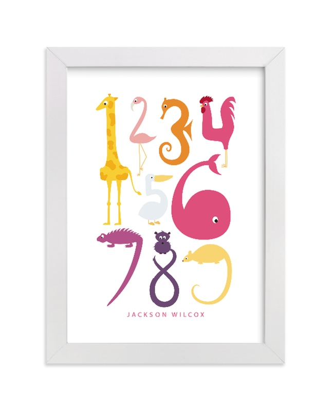 This is a pink nursery wall art by Danie Romrell called Numbered Animals with standard.