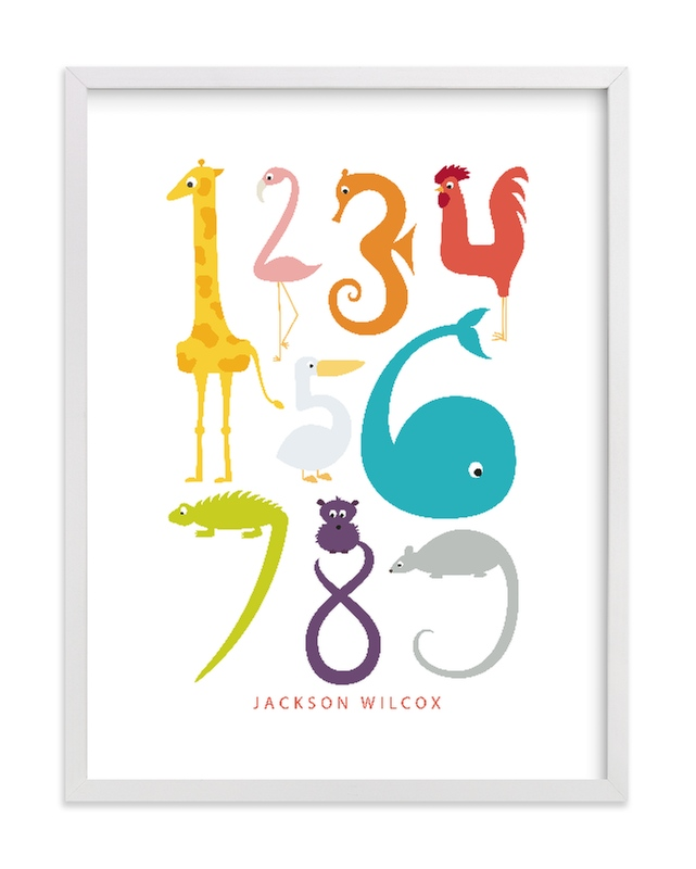 """Numbered Animals"" - Nursery Custom Art Print by Danie Romrell in beautiful frame options and a variety of sizes."