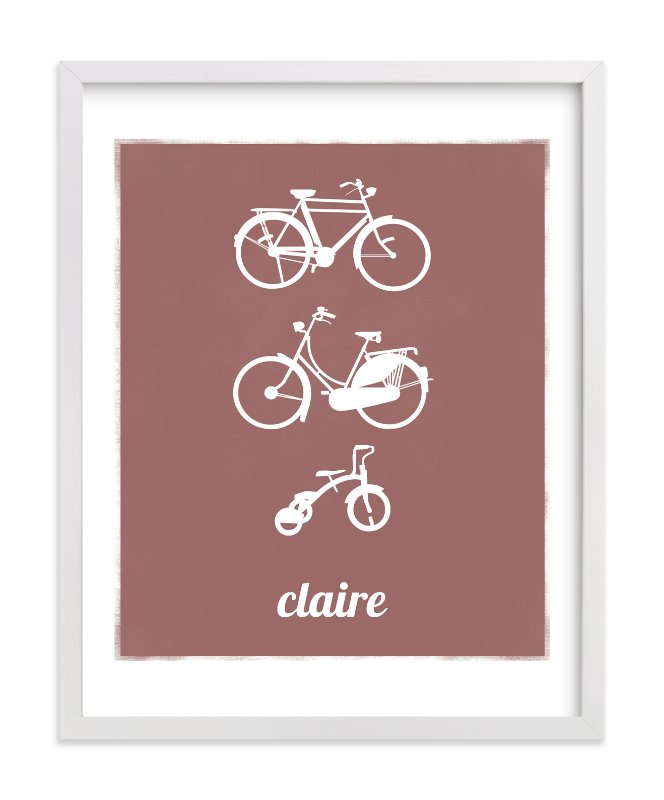 This is a brown nursery wall art by That Girl Studio called Bike Love with standard.