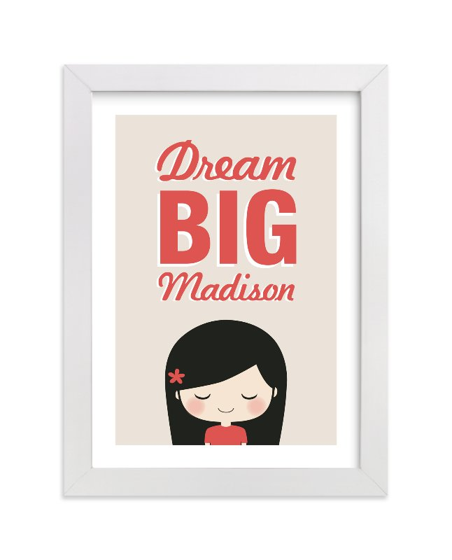 This is a red nursery wall art by Guess What Design Studio called Dream BIG with standard.