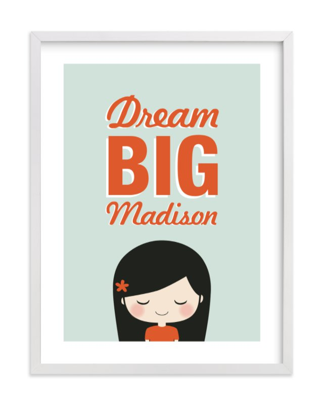 This is a orange nursery wall art by Guess What Design Studio called Dream BIG with standard.