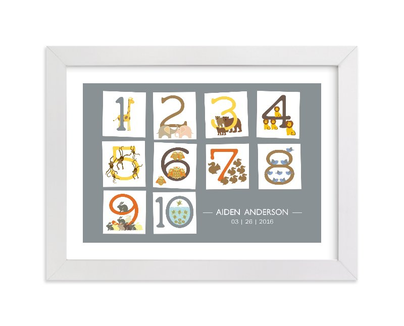 This is a grey nursery wall art by Bella Expressions-Linda Birtel called Let's Count with standard.