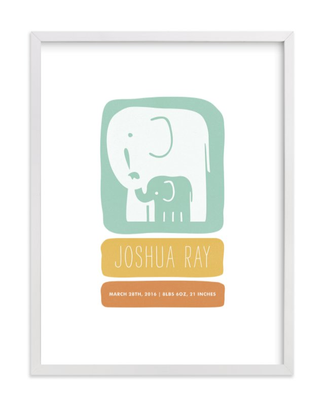 """Little Elephant"" - Nursery Custom Art Print by Snow and Ivy in beautiful frame options and a variety of sizes."
