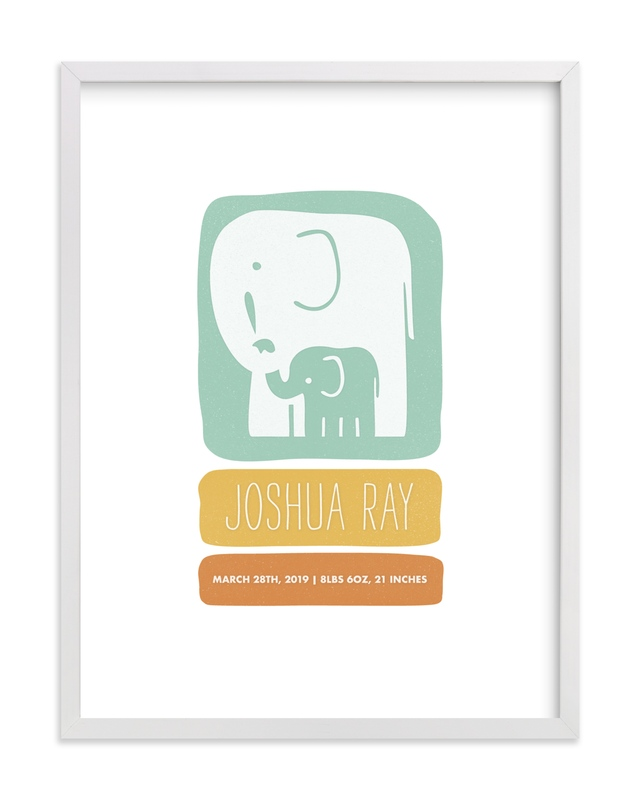 This is a orange nursery wall art by Snow and Ivy called Little Elephant with standard.