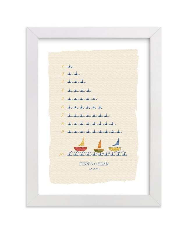 This is a blue nursery wall art by Michelle Enderton called The Counting Ocean.