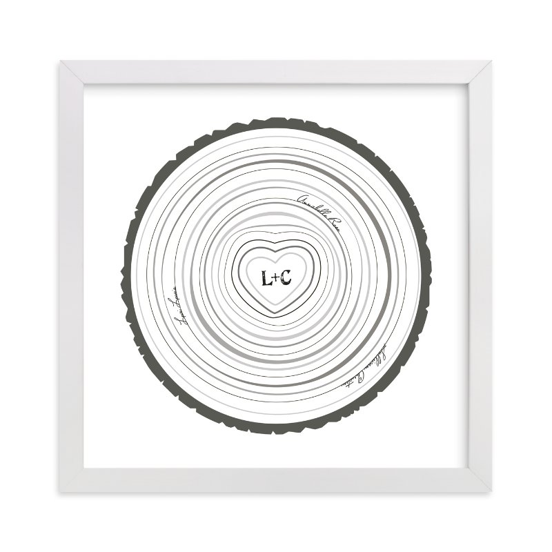 This is a black nursery wall art by Jessie Steury called Family Tree Rings with standard.