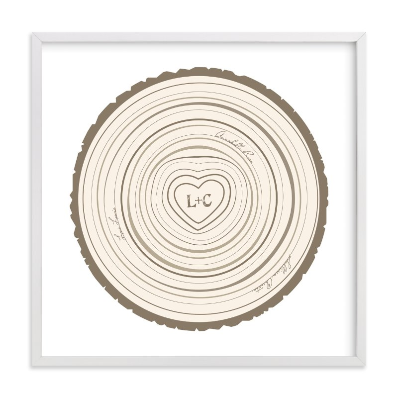 This is a brown nursery wall art by Jessie Steury called Family Tree Rings with standard.