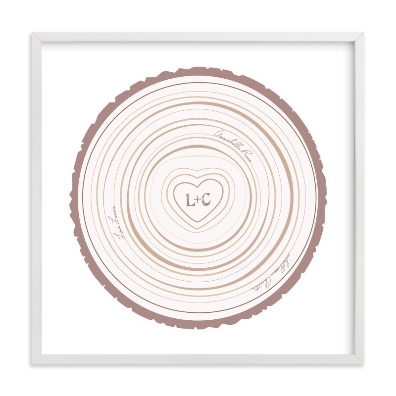 This is a pink nursery wall art by Jessie Steury called Family Tree Rings with standard.