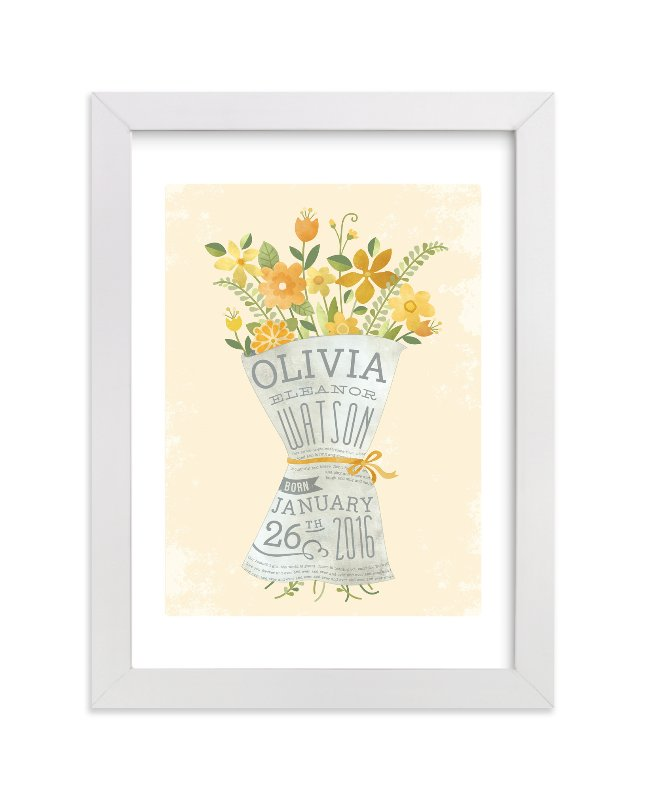 This is a yellow nursery wall art by Susie Allen called Newspaper Bouquet with standard.