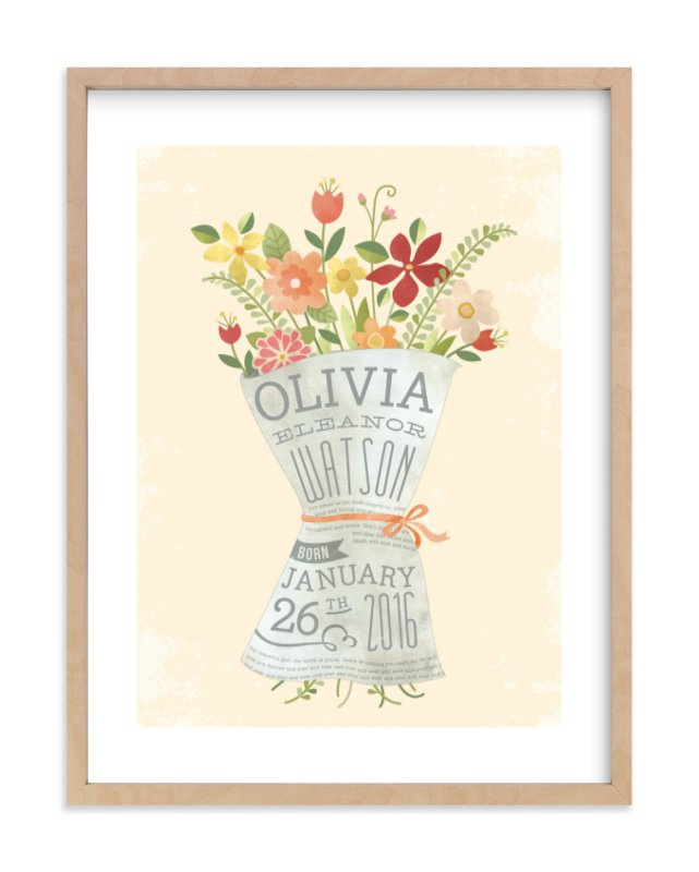 """Newspaper Bouquet"" - Nursery Custom Art Print by Susie Allen in beautiful frame options and a variety of sizes."