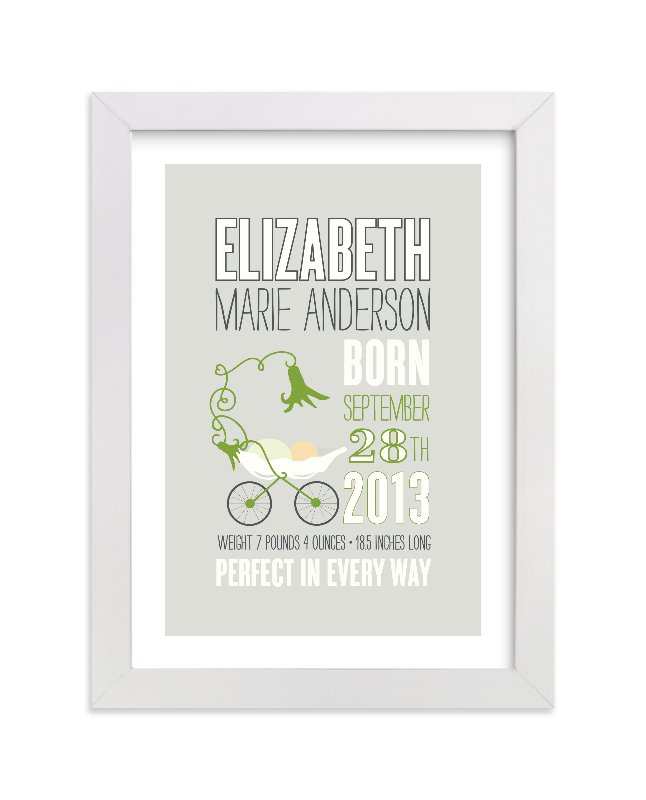 This is a white nursery wall art by That Girl Press called Sweet Pea with standard.